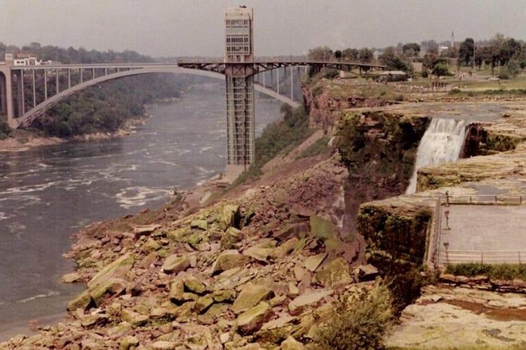 Drained Niagara Falls